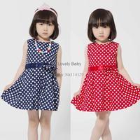 New 2014 Girl Print Dress Brand Summer 2-7 Age Girls Party Dress kids Polka Dot Dresses Princess Children Clothing B11 SV003712