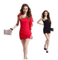 New arriving 2014 Summer hot selling lady sexy nightclub show thin package buttocks gauze dress with  good price,free shipping