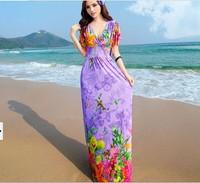 Free shipping Bohemia wind V brought new butterfly short sleeved dress bat sleeve Holiday Beach skirt dress