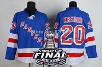 2014 Stanley Cup Finals Patch New York Rangers #20 Chris Kreider Light BLue Ice Hockey Jerseys Embroidery logos Size 48-56