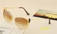 Free Shipping New 2014 Super Retro Glasses Half Metal Rim Vintage Women Sunglasses Cateyes Designer Eyeglasses For Girls Oculos