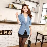 Hot Sale New 2014 Spring Summer Fashion Coat Women Clothing Casual Blazer Girl Denim Jacket Jeans Casaco Plus Size Free Shipping