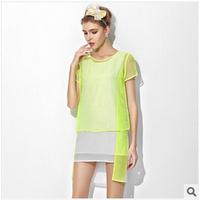 HOT! 2014 New Sexy Casual Women High quality Dress Fluorescence  silk dress Perspective short-sleeve Mini dress Freeshipping