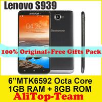 Free shipping Lenovo S939 Octa Core original phones MTK6592 1.7GHz 6 inch 1280x720 1GB RAM 8GB Android 4.2 GPS  Dual SIM 8.0MP