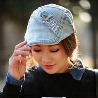 Summer And Spring 2014 Fashion Sun Visor Hat  Jeans Beret Visor Men Letter Peaked Cap And Women Denim Cap