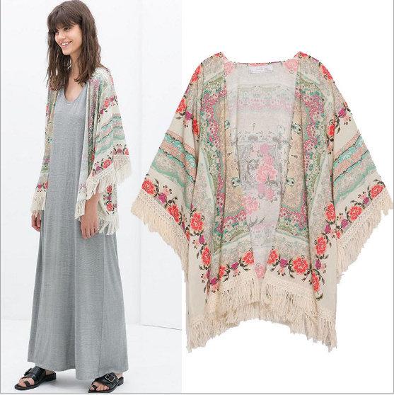 02A1017 New Fashion Ladies' Vintage flower print Phoenix Pattern loose kimono coat cappa outwear casual slim outwear tops(China (Mainland))