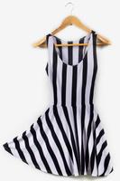 Best Quality 2014 new Black white Vertical Zebra Stripe dresses Women slim hips skater dress  free shipping