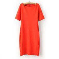 Autumn and Winter Fashion Women Dresses Slim Thin Solid Orange Elegant Bodycon Dress Knee-Length Midi Dress Vestidos Femininas