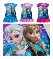 2014 New kids cartoon frozen dress baby girls short sleeve princess dress children's summer fashion dress in stock 3 colors