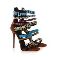 Brand Fashion 2014 Gladiator Women Pumps Designer High Heel Sandal Sexy Cut-out Summer Women Genuine Leather Shoes