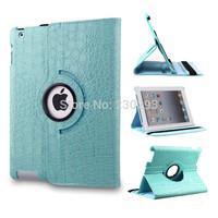 Fashion Blue Crocodile Print 360 Degree Rotating Folding Folio Case Protective Skin Shell Cover For iPad 2 iPad 3 iPad 4