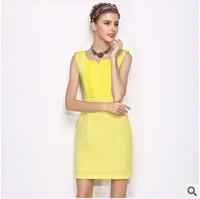 2014 summer new women's elegant High quality dress V-neck sleeveless tank dress OL dress Knee-Length bodycon freeshipping