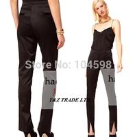 2014 Front trouser legs Split Elasticity high waist Slim women Pencil Pants 6 size Casual fashion Trousers Capris pants HDY82