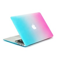 Crystal Rubberized Matte Surface Hard Rainbow Cover Case Sleeve  For Macbook Pro 13 inch 15 inch with logo,Free Shipping
