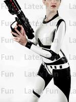 0.4MM Fashion Catsuit Rubber Crotch Zipper to Back Terminator Latex Bodysuits