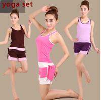 Summer cotton yoga clothes suit vest top + shorts  yoga slim thin female sportswear yoga set fitness clothing M/L/XL/XXL