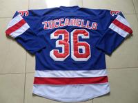 New York Rangers Jerseys #36 Mats Zuccarello Blue Ice Hockey Jersey Sewn Logos, Accept Mix Orders