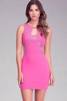 Women's sleeveless sequined nice solid sheath dress sexy designer female popular celebrity Bandage dress fashion summer H579
