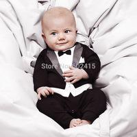 4pcs baby boy's 2014 baby boy  one piece romper long-sleeve baby gentleman printed romper HY030