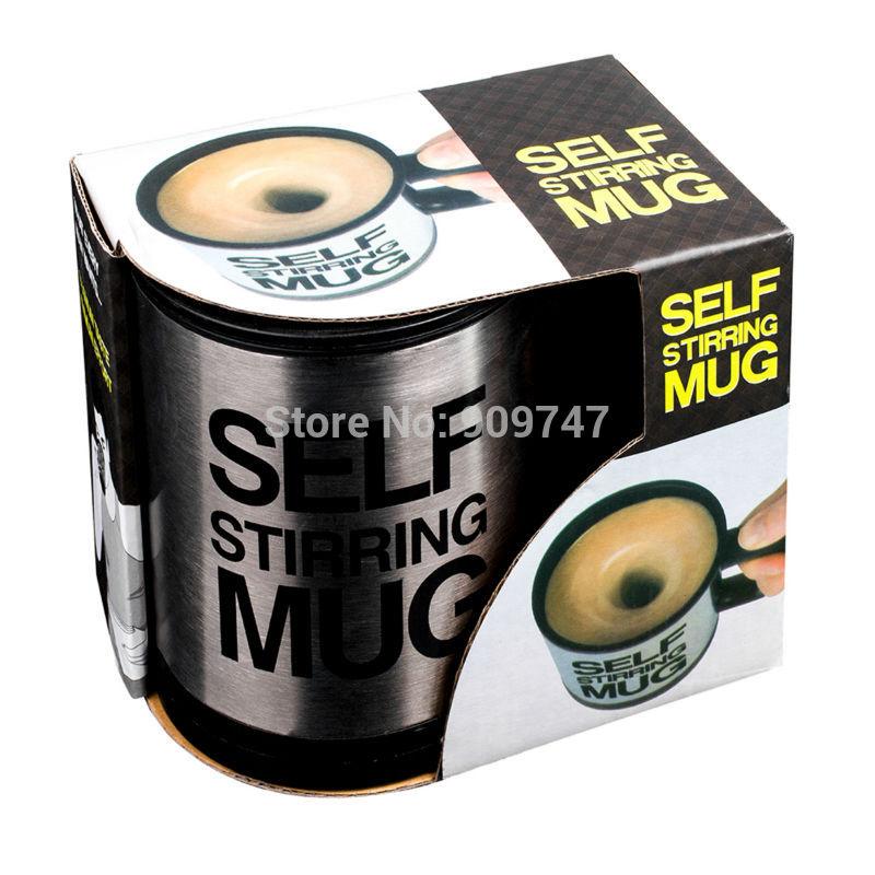 1Pcs Automatic Plain Mixing coffee Tea cup Lazy Self strring mug button Pressing Hot!(China (Mainland))