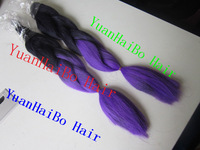 In stock!! Free shipping wholesale price 20inch colored two tone #1b/purple ombre kanekalon braiding hair