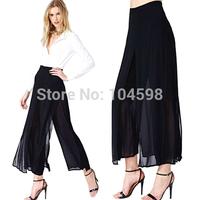 Retro style Double black chiffon Straight Pants new style 6 size Lightweight loose Elastic Waist Chiffon pants Trousers HDY89