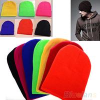 Women Men New Winter Solid Color Plain Beanie Knit Ski Cap  Skull Hat Warm Cuff Blank Beany 02K4