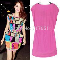 New Dress Summer Women Girl Clothing Fashion Chiffon Grid Round Collar