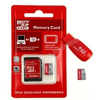 Free Shipping 32GB  Micro SD Card 32gb class 10 + Free Adapter + Gift Card Reader + memory card+retail red packaging