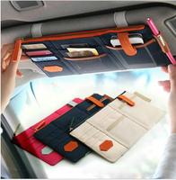 1000pcs/lot Hot Korea Style Car Sunvisor Point Multi Pocket Hang Storage Organizer Arrangement Bag of Sun Visor 3 Colors