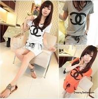 Japan South Korea 2014 new women's letter sports wind dress low waist drawstring short-sleeved summer dress