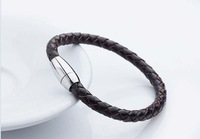 retail sale stainless steel weave leather magnet clasp man bracelet  titanium steel bangle wristband fashion men jewelry