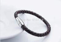 retail sale stainless steel weave leather magnet clasp man bracelet  titanium steel bangle wristband fashion men jewelry