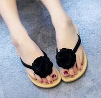 Summer sweet wedges female fashion flat slippers flip flops drag the folder flower beach sandals