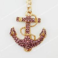 6 pcs Fashion anchor mooring  purple rhinestone crystal Key chain Alloy Key ring hand Bag purse car Charm jewelry accessories