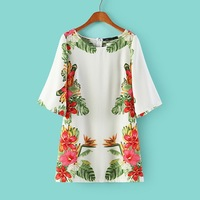 2014 New European brand Style Summer leisure fashion women floral print casual slim evening party dress,WD0161