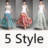 2014 Sexy Women Floral Prints Summer Chiffon Skirts High Waist Band Long Bohemia Maxi Skirts