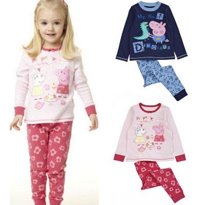 Retail 1set New 2014 Peppa Pig Pajamas Clothing Sets Boys Girls Long Sleeve Casual Cotton Suits ZZ2325(Hong Kong)