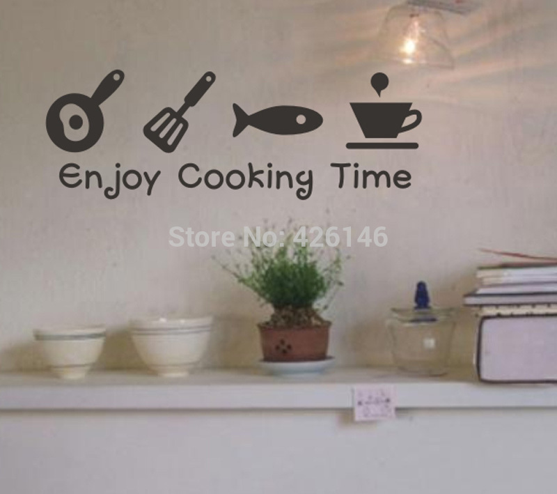 Free Shipping Enjoy cooing time waterproof creative tile wall stickers,glass cabinets kitchen decor wall art(China (Mainland))