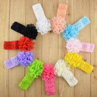 Promotion 10pcs/lot Chiffon Lace Flower Crochet Headband Baby Girls Dress Up Head band 11 color FDA26