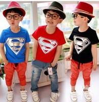 EMS DHL free shipping boys Girls Kids Children Superman Cotton Summer Short SleeveT Shirt Casul Children Clothing 3 Colors
