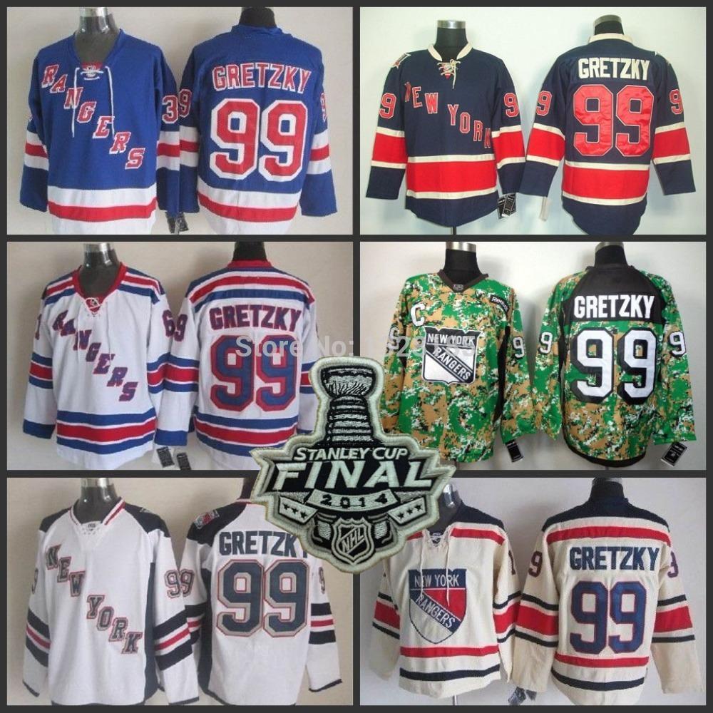 2014 stanley cup finale patch new york rangers #99 Wayne Gretzky weiß schwarz camo blau eishockey trikots Eis Winter trikot genäht