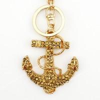 6 pcs Fashion anchor mooring  brown rhinestone crystal Key chain Alloy Key ring hand Bag purse car Charm jewelry accessories