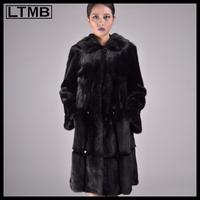 LTMB women black mink fur long coat with fur hood collar Rex rabbit fur leather added Sable fur coat for ladies