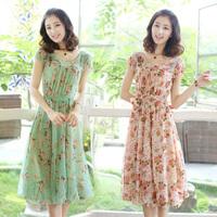 summer 2014 women's clothing sweet chiffon  midguts beach dress short sleeve chiffon dresses