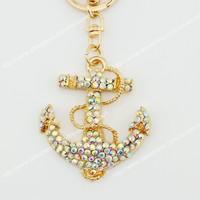 6 pcs Fashion anchor mooring  AB-rhinestone crystal Key chain Alloy Key ring hand Bag purse car Charm jewelry accessories