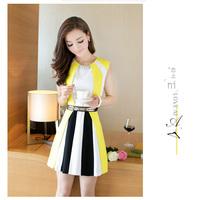 2014 summer women's slim one-piece dress patchwork color block sleeveless tank dress with belt