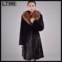 LTMB women mink fur long coat with zibeline fur turn down collar 110cm length sable fur coat for ladies