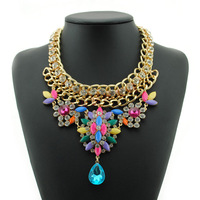 Hot 2014 Brand Fashion Body Chain Color Rhinestone Flower Drop Statement Necklaces & Pendants Bib Beads Vintage Collar Jewelry