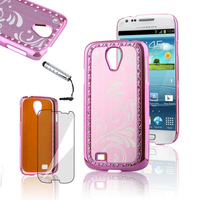 Glitter Pink Hard Back Cover Protective Shell Skin Casefor Samsung Galaxy S4  For Samsung I9500 Free Shipping